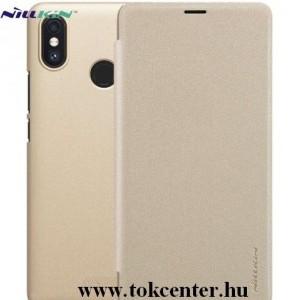 XIAOMI Mi Max 3 NILLKIN SPARKLE műanyag telefonvédő (mikroszálas bőr aktív flip, oldalra nyíló) ARANY