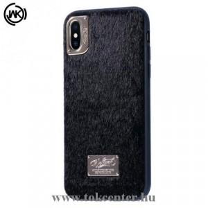 APPLE IPhone X 5.8 /APPLE IPhone XS 5.8 WK műanyag telefonvédő (műanyag hátlap, plüss bevonat) FEKETE