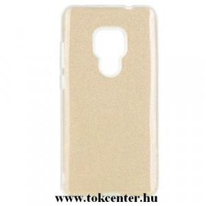 HUAWEI Mate 20 Telefonvédő gumi / szilikon (műanyag belső, csillogó hátlap) ARANY