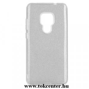 HUAWEI Mate 20 Telefonvédő gumi / szilikon (műanyag belső, csillogó hátlap) EZÜST