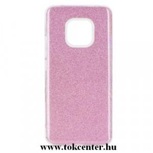 HUAWEI Mate 20 Pro Telefonvédő gumi / szilikon (műanyag belső, csillogó hátlap) RÓZSASZÍN