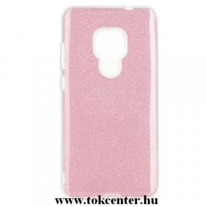 HUAWEI Mate 20 Telefonvédő gumi / szilikon (műanyag belső, csillogó hátlap) RÓZSASZÍN