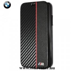 APPLE IPhone XR 6.1 BMW műanyag telefonvédő (bőrflip, átlátszó hátlap, oldalra nyíló, karbonminta) FEKETE