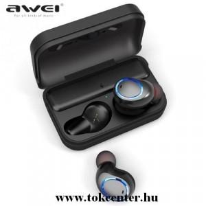 AWEI T3 TWS BLUETOOTH fülhallgató (v5.0, mikrofon, IPX4 vízálló, extra mini, töltőtok) FEKETE