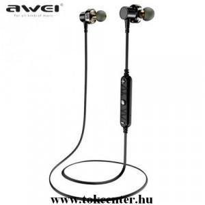 AWEI BLUETOOTH fülhallgató SZTEREO (v4.2, nyakba akasztható, mikrofon, mágneses, 4D hang, multipoint, SPORT) FEKETE