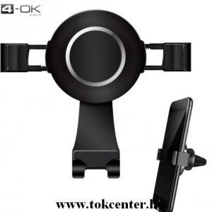 4-OK UNIVERZÁLIS gépkocsi / autó konzol (szellőzőre, 360°-ban forgatható, automata, töltő kialakítás) FEKETE