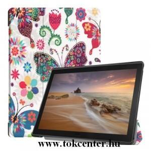 LENOVO Tab E10 (TB-X104F) Tok álló, bőr (FLIP, oldalra nyíló, TRIFOLD asztali tartó funkció, színes pillangóminta) FEHÉR