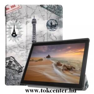 LENOVO Tab E10 (TB-X104F) Tok álló, bőr (FLIP, TRIFOLD asztali tartó funkció, Eiffel torony, térképminta) SZÜRKE