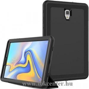 SAMSUNG Galaxy Tab A 10.5 (2018) SM-T595 /SM-T590 Defender telefonvédő gumi (FLIP előlap, műanyag belső, TRIFOLD asztali tartó funkció, közepesen ütésálló) FEKETE