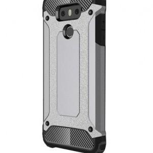 SAMSUNG Galaxy A7 (2018) SM-A750F Defender műanyag telefonvédő (közepesen ütésálló, gumi / szilikon belső, fémhatás) EZÜST