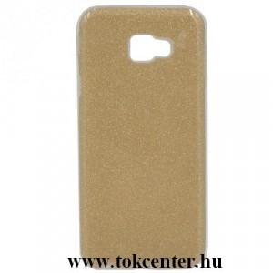 SAMSUNG Galaxy J4 Plus (J415F) Telefonvédő gumi / szilikon (műanyag belső, csillogó hátlap) ARANY