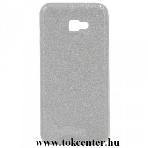 SAMSUNG Galaxy J4 Plus (J415F) Telefonvédő gumi / szilikon (műanyag belső, csillogó hátlap) EZÜST