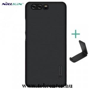 HUAWEI P10 NILLKIN SUPER FROSTED műanyag telefonvédő (gumírozott, érdes felület + asztali tartó) FEKETE