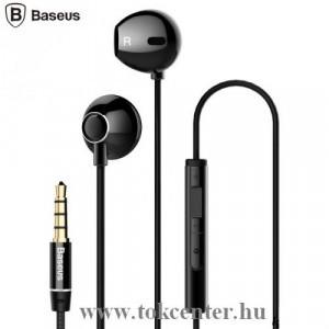 BASEUS ENCOK H06 fülhallgató SZTEREO (3.5mm jack, mikrofon, felvevő gomb, hangerő szabályzó, 3D hangzás) FEKETE