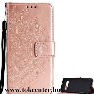 SAMSUNG Galaxy S10e (SM-G970) Tok álló, bőr (FLIP, oldalra nyíló, asztali tartó funkció, csuklópánt, mandala minta) ROZÉARANY