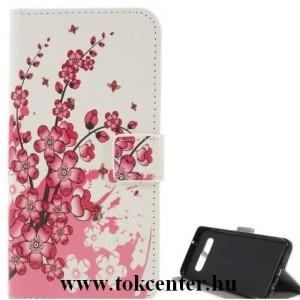 SAMSUNG Galaxy S10e (SM-G970) Tok álló, bőr (FLIP, oldalra nyíló, asztali tartó funkció, virágminta) FEHÉR