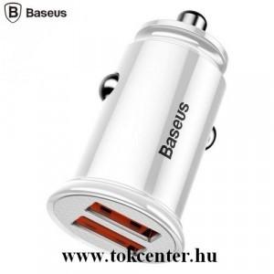 BASEUS szivargyújtó töltő / autós töltő 2 x USB aljzat (4.5V / 5000mA, QC 3.0, gyorstöltés támogatás) FEHÉR