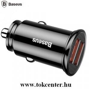 BASEUS szivargyújtó töltő / autós töltő 2 x USB aljzat (4.5V / 5000mA, QC 3.0, gyorstöltés támogatás) FEKETE