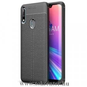ASUS Zenfone Max Pro (M2) ZB631KL Telefonvédő gumi / szilikon (közepesen ütésálló, bőrhatás, varrás minta) FEKETE