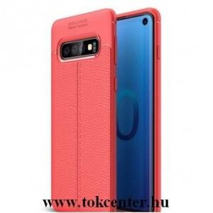 SAMSUNG Galaxy S10 (SM-G973) Telefonvédő gumi / szilikon (közepesen ütésálló, bőrhatás, varrás minta) PIROS