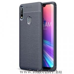 ASUS Zenfone Max Pro (M2) ZB631KL Telefonvédő gumi / szilikon (közepesen ütésálló, bőrhatás, varrás minta) SÖTÉTKÉK