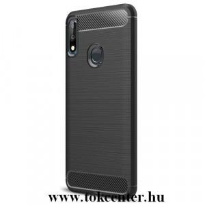 ASUS Zenfone Max Pro (M2) ZB631KL Telefonvédő gumi / szilikon (közepesen ütésálló, légpárnás sarok, szálcsiszolt, karbonminta) FEKETE