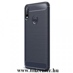 ASUS Zenfone Max Pro (M2) ZB631KL Telefonvédő gumi / szilikon (közepesen ütésálló, légpárnás sarok, szálcsiszolt, karbonminta) SÖTÉTKÉK