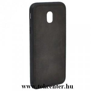 SAMSUNG Galaxy J4 Plus (J415F) Telefonvédő gumi / szilikon (szövetminta) FEKETE