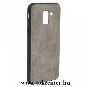 SAMSUNG Galaxy J6 (2018) J600F Telefonvédő gumi / szilikon (szövetminta) SZÜRKE
