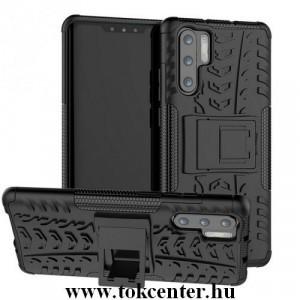 HUAWEI P30 Pro Defender műanyag telefonvédő (közepesen ütésálló, gumi / szilikon belső, kitámasztó, autógumi minta) FEKETE