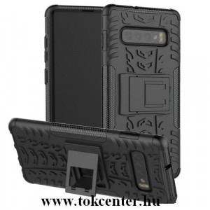 SAMSUNG Galaxy S10 (SM-G973) Defender műanyag telefonvédő (közepesen ütésálló, gumi / szilikon belső, kitámasztó, autógumi minta) FEKETE