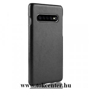 SAMSUNG Galaxy S10 (SM-G973) Műanyag telefonvédő (bőrbevonat) FEKETE