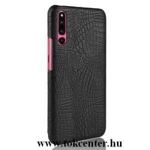 HUAWEI P30 Műanyag telefonvédő (bőrbevonat, krokodilbőr minta) FEKETE