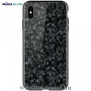 APPLE IPhone XS Max 6.5 NILLKIN SEASHELL telefonvédő műanyag keret (BUMPER, edzett üveg hátlap, márványminta) FEKETE