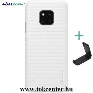 HUAWEI Mate 20 Pro NILLKIN SUPER FROSTED műanyag telefonvédő (gumírozott, érdes felület + asztali tartó) FEHÉR