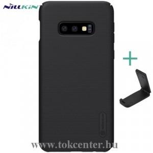 SAMSUNG Galaxy S10e (SM-G970) NILLKIN SUPER FROSTED műanyag telefonvédő (gumírozott, érdes felület + asztali tartó) FEKETE