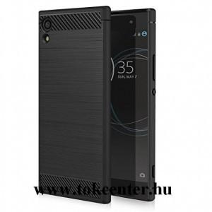 Sony Xperia XA1 Telefonvédő gumi / szilikon (közepesen ütésálló, légpárnás sarok, szálcsiszolt, karbonminta) FEKETE