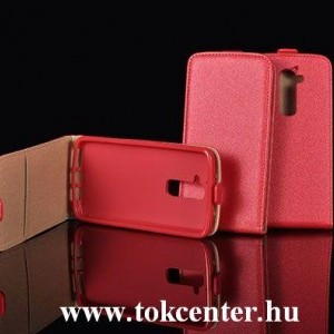 Sony Xperia Z4 piros szilikon keretes vékony flip tok
