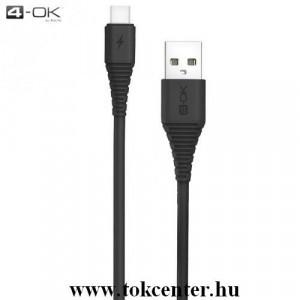 4-OK adatátvitel adatkábel és töltő (törésgátló, 3000mA, 100 cm hosszú, Type-C) FEKETE