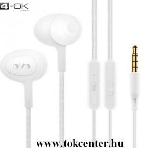4-OK OVO fülhallgató SZTEREO (3.5mm jack, mikrofon, felvevő gomb, hangerő szabályzó) FEHÉR