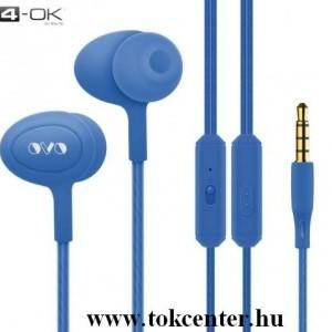 4-OK OVO fülhallgató SZTEREO (3.5mm jack, mikrofon, felvevő gomb, hangerő szabályzó) KÉK