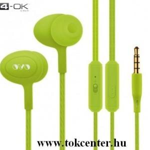 4-OK OVO fülhallgató SZTEREO (3.5mm jack, mikrofon, felvevő gomb, hangerő szabályzó) ZÖLD