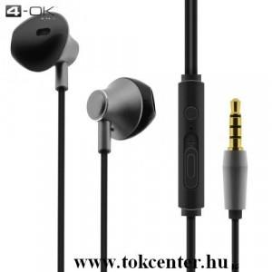 4-OK PREMIUM fülhallgató SZTEREO (3.5mm jack, mikrofon, felvevő gomb, hangerő szabályzó) EZÜST