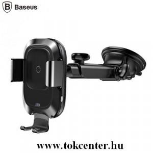 BASEUS autós tartó (tapadókorongos, dönthető, teleszkóp, QI Wireless, vezeték nélküli töltés, 10W automata) FEKETE