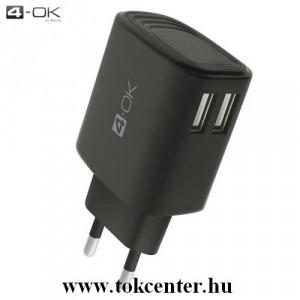 4-OK hálózati töltő 2 x USB aljzat (5V / 3400mA, gyorstöltés támogatás, microUSB kábellel, Type-C adapterrel) FEKETE