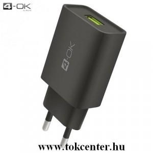 4-OK hálózati töltő USB aljzat (5V / 2400mA, gyorstöltés támogatás, microUSB kábellel, Type-C adapterrel) FEKETE