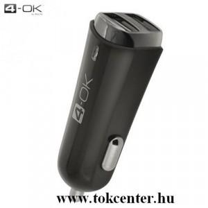 4-OK szivargyújtó töltő/autós töltő 2 x USB aljzat (5V / 3400mA, microUSB adat/töltőkábel, Type-C adapter) FEKETE
