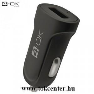 4-OK szivargyújtó töltő/autós töltő USB aljzat (5V / 2100mA, microUSB adat/töltőkábel, Type-C adapter) FEKETE