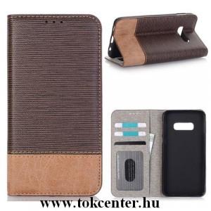 SAMSUNG Galaxy S10e (SM-G970) Tok álló, bőr (FLIP, oldalra nyíló, asztali tartó funkció, bankkártya tartó, textilminta) BARNA
