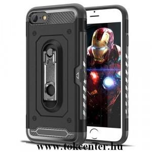 APPLE IPhone 8 4.7 Defender műanyag telefonvédő (közepesen ütésálló, gumi / szilikon belső, kártyatartó, fémhatás, fém kitámasztó) FEKETE